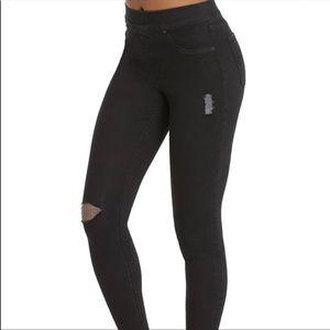 Spanx Vintage Distressed Ankle Skinny Jeans Black Raw Hem High Waist Size L
